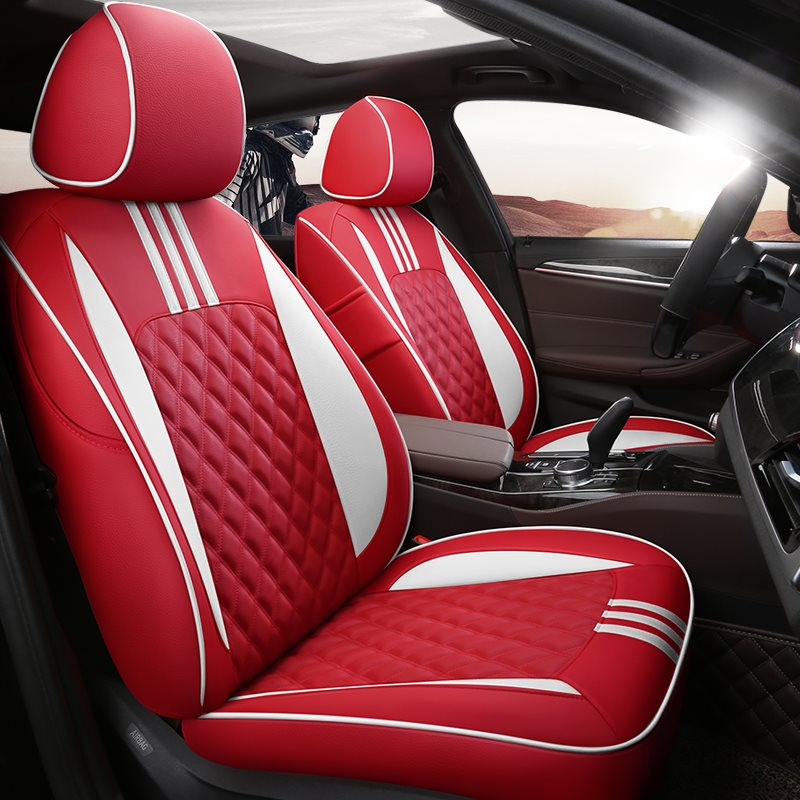 5-Seats Sport Style Pure Beautiful Appearance High Quality Leather Material Unfading Universal Custom Fit Seat Covers