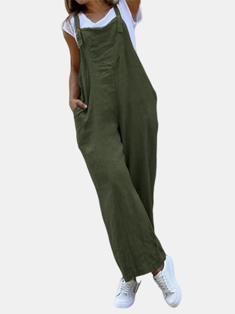Solid Color Straps Loose Plus Size Cotton Jumpsuit