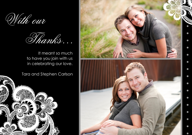 Wedding Thank You 5x7 Cards, Premium Cardstock 120lb, Card & Stationery -Black & White Lace Thank You