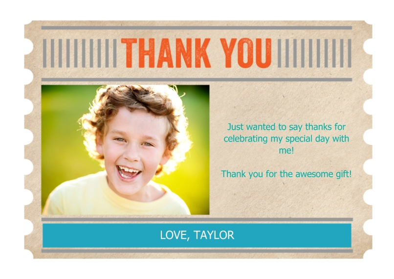 Kids Thank You Cards 5x7 Cards, Premium Cardstock 120lb with Scalloped Corners, Card & Stationery -Thank You Ticket