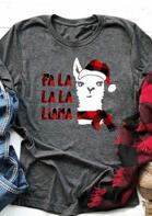 Christmas Plaid Printed Fa La La La Llama T-Shirt Tee - Gray