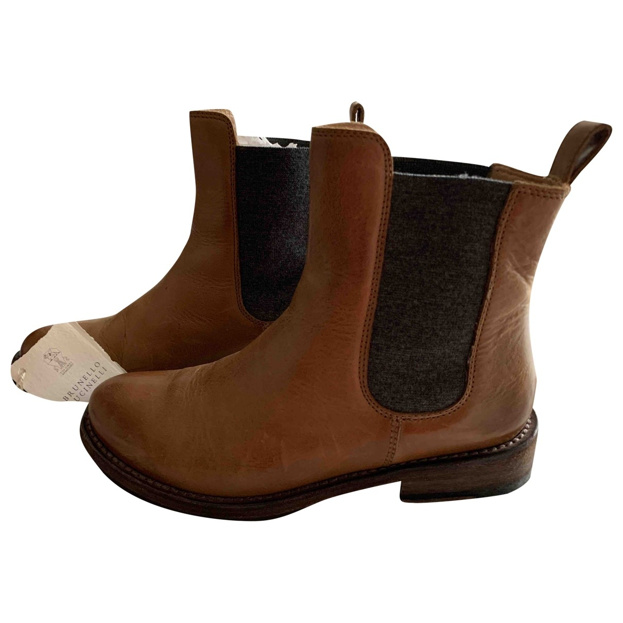 Brunello Cucinelli \N Camel Leather Ankle boots for Women 37 EU