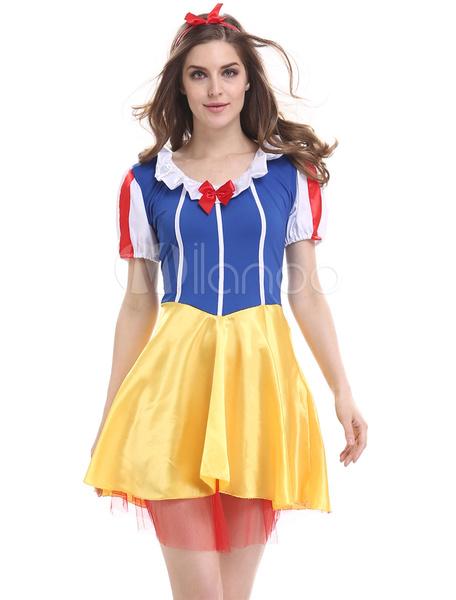 Milanoo Sexy Snow White Costumes Blue And Yellow Princess Fairytale Costume Halloween