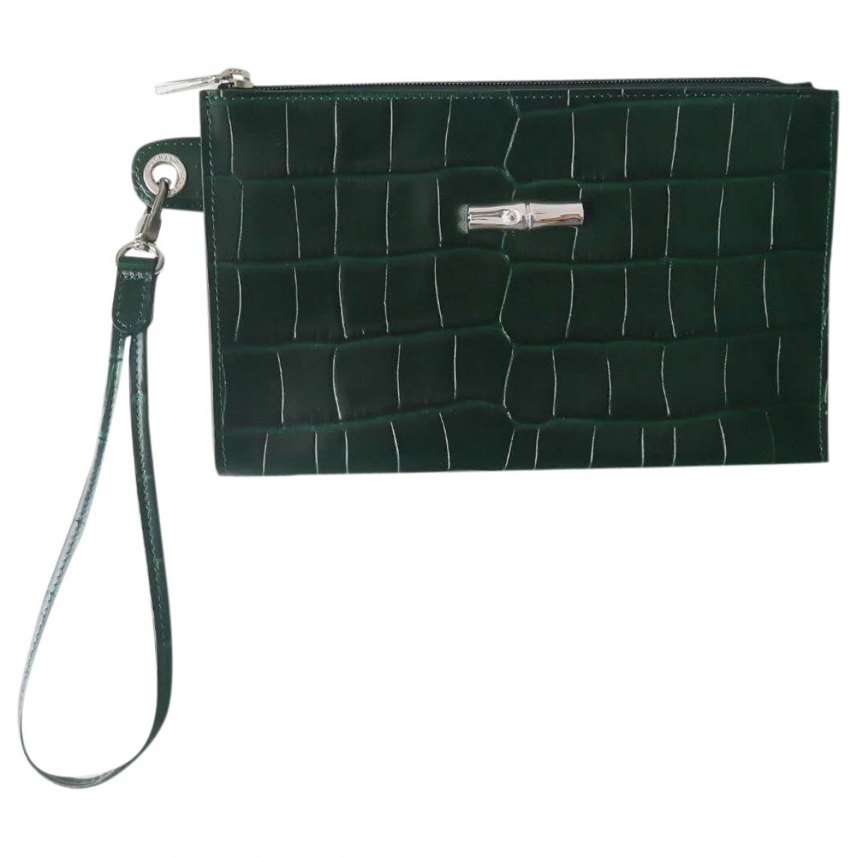 Longchamp Pliage  Green Leather Clutch bag for Women \N