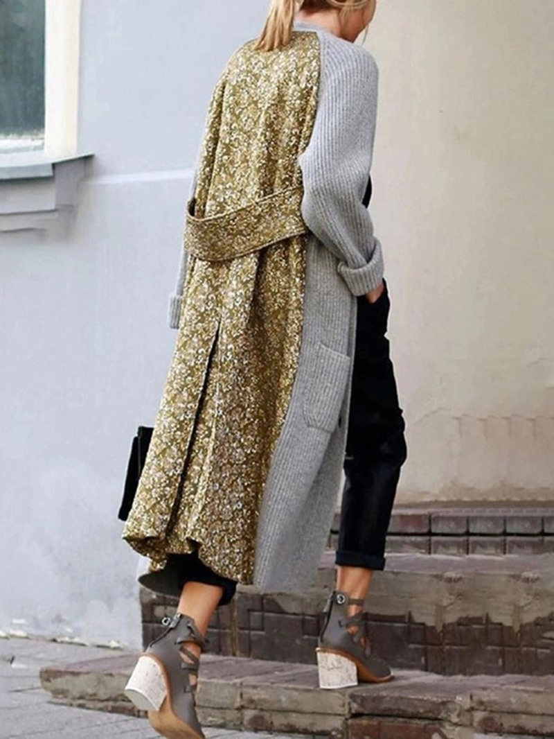 Ericdress Fashion Regular Patchwork Loose Long Overcoat