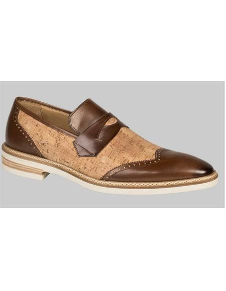 Men's Handmade Brown/Natural Cork and Leather Shoe Mezlan Brand
