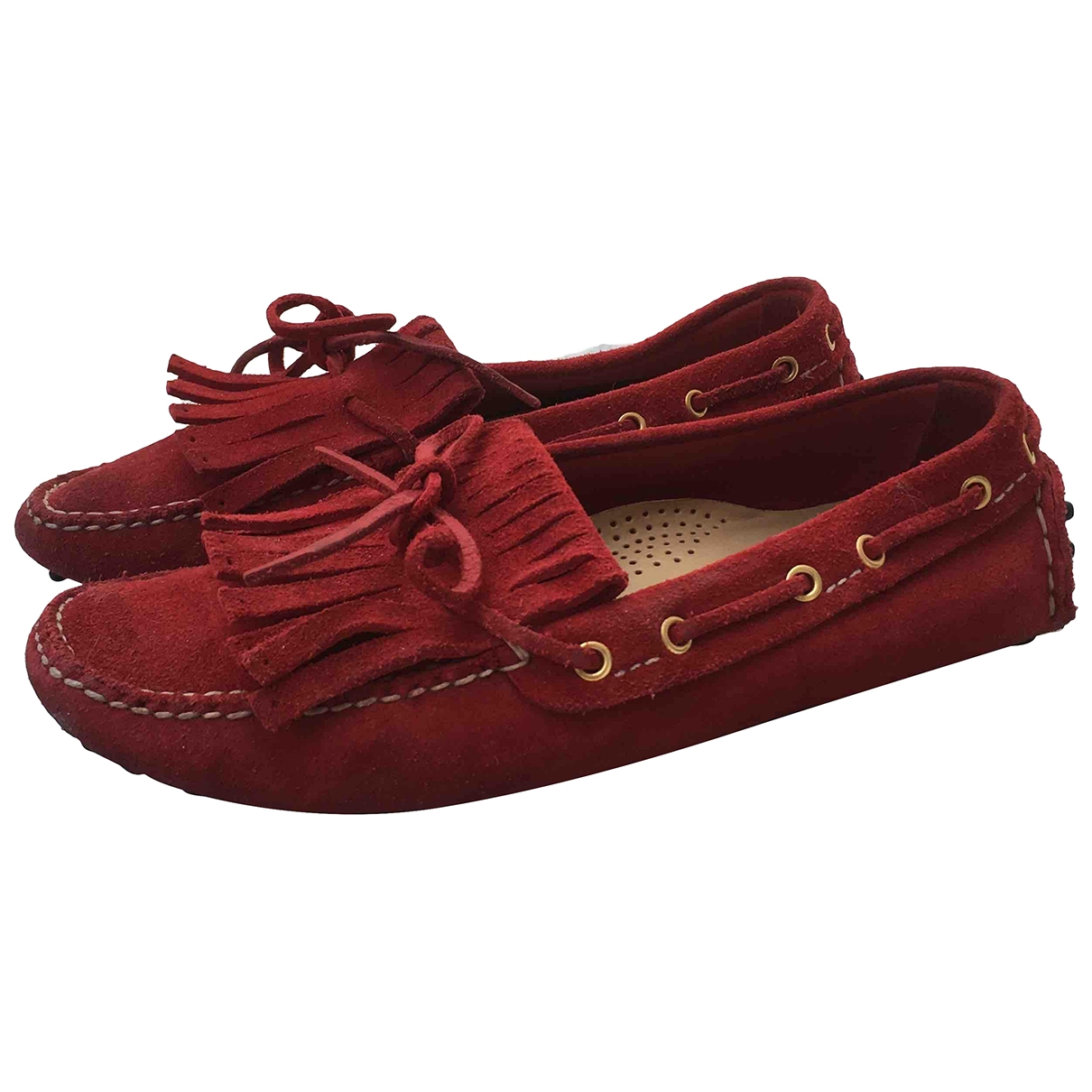 Carshoe \N Red Suede Flats for Women 37 EU