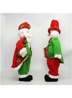 Standing Tall Santa Claus and Snowman Christmas Table Decoration