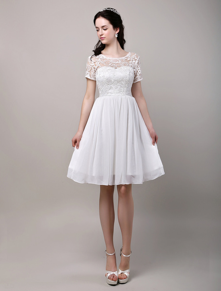 Milanoo Simple Wedding Dresses Short sleeves Lace Bodice Chiffon Reception Bridal Dress
