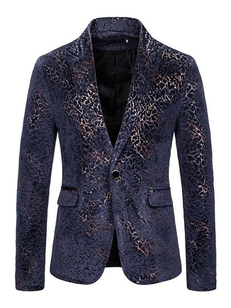 Milanoo Men Blazers Jackets Hot Stamping Casual Suits
