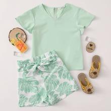 Girls Solid Top & Paperbag Waist Tropical Print Shorts Set