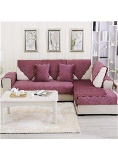 Red Plush Quilting Phoenix-tail Print Four Seasons Slip Resistant Sofa Covers