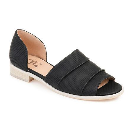 Journee Collection Womens Helena Slip-On Open Toe Shoe, 8 Medium, Black