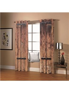Vintage House Old Wooden Doors Blackout 3D Scenery Curtains