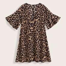 Plus V-neck Leopard Print Tunic Dress