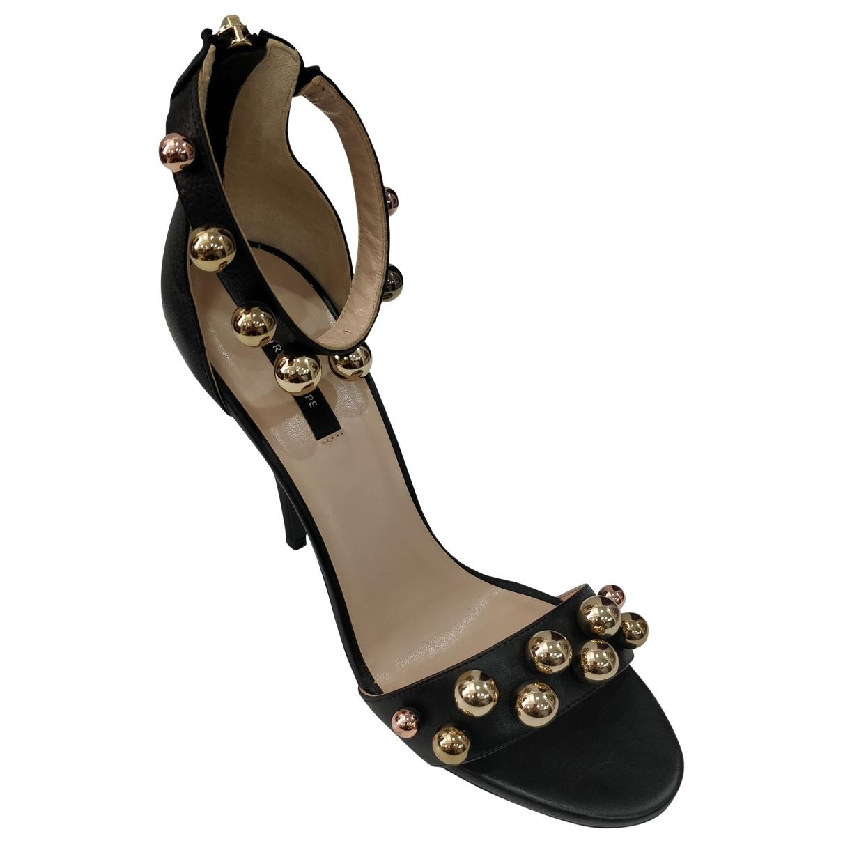 Patrizia Pepe \N Black Leather Sandals for Women 41 IT