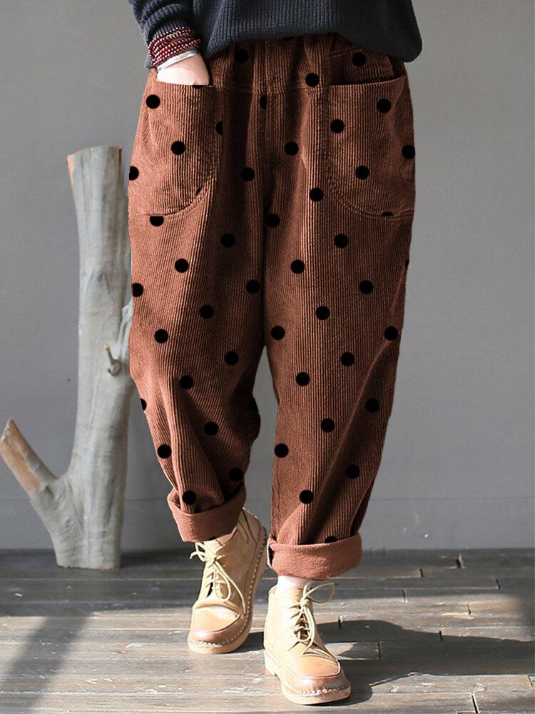 Vintage Polka Dot Corduroy Loose Pants with Pockets