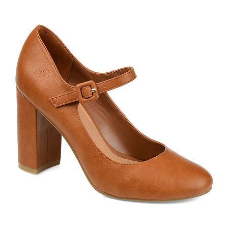 Journee Collection Womens Shayla Buckle Round Toe Block Heel Pumps, 11 Medium, Orange