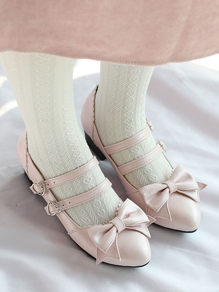 Milanoo Sweet Lolita Pump Bow Strappy Puppy Heel Pink Lolita Shoes