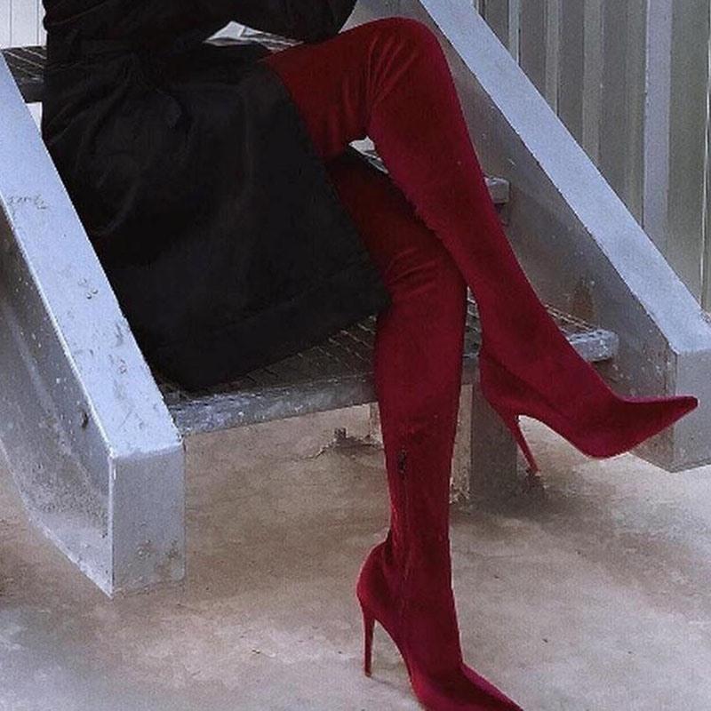 Ericdress Plain Pointed Toe Stiletto Heel Zipper Women's Knee High Boots