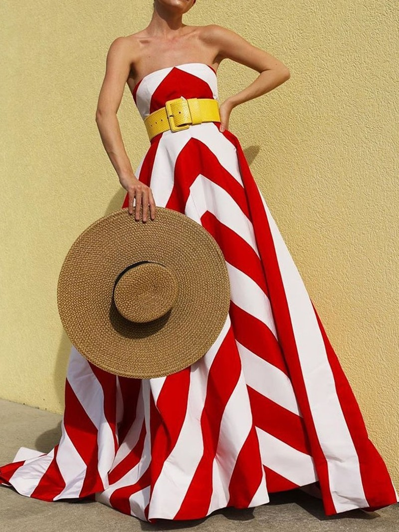 Ericdress Print Floor-Length Sleeveless Stripe Party/Cocktail Dress