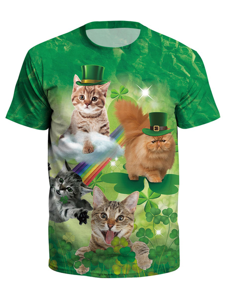 Milanoo St Patricks Day T Shirt Green 3D Printed Dog Cat Clover Unisex Irish Short Sleeve Top Halloween