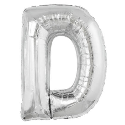 Silver Letter D Shaped Foil Helium Balloon 34