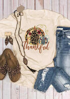 Leopard Printed Splicing Thankful Pumpkin T-Shirt Tee - Apricot