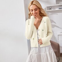 Floral Embroidery Button Front Knit Coat