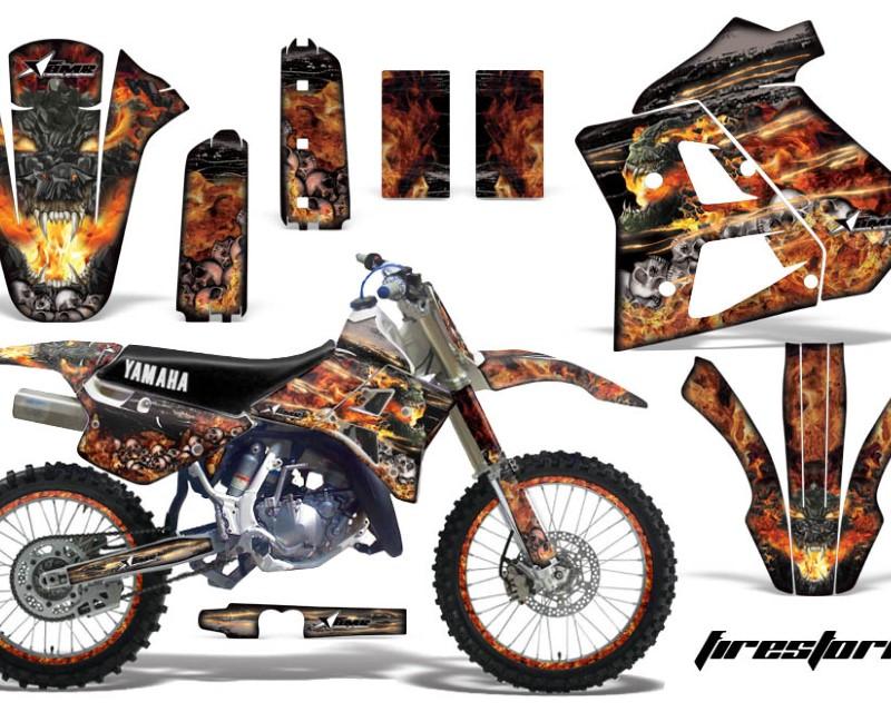 AMR Racing Graphics MX-NP-YAM-WR250Z-91-93-FS K Kit Decal Sticker Wrap + # Plates For Yamaha WR250Z 1991-1993 FIRESTORM BLACK