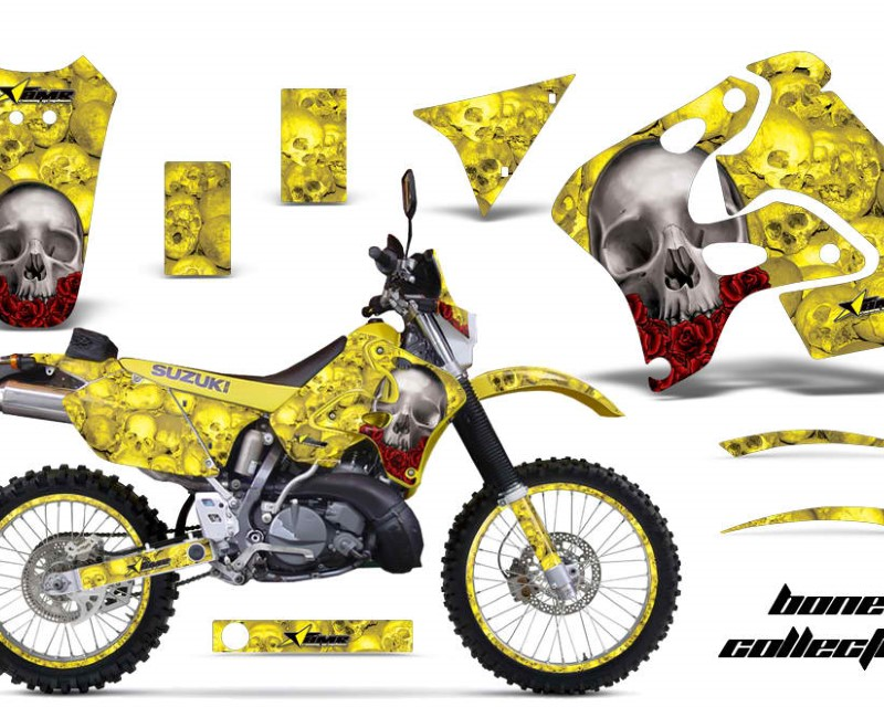 AMR Racing Graphics MX-NP-SUZ-RMX250S-96-98-BC Y Kit Decal Sticker Wrap + # Plates For Suzuki RMX250S 1996-1998 BONES YELLOW