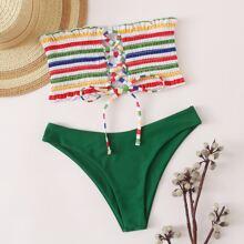 Rainbow Stripe Smocked Lace-up Bandeau Bikini Swimsuit