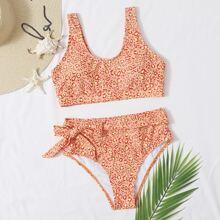Leopard Tie Waist High Waisted Bikini Swimsuit