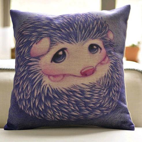 Cute Purple Hedgehog Print Throw Pillow Case