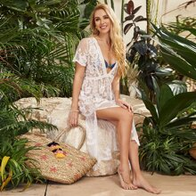 Plunging Neck Split Embroidered Mesh Cover Up Without Bikini
