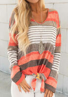 Colorful Striped Tie Long Sleeve Blouse
