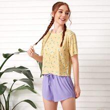 Ditsy Floral Print Tee And Drawstring Waist Shorts PJ Set