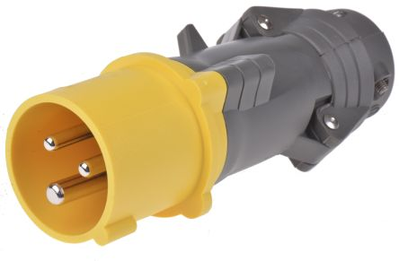 Legrand , HYPRA IP44 Yellow Cable Mount 2P+E Industrial Power Plug, Rated At 16.0A, 110.0 V
