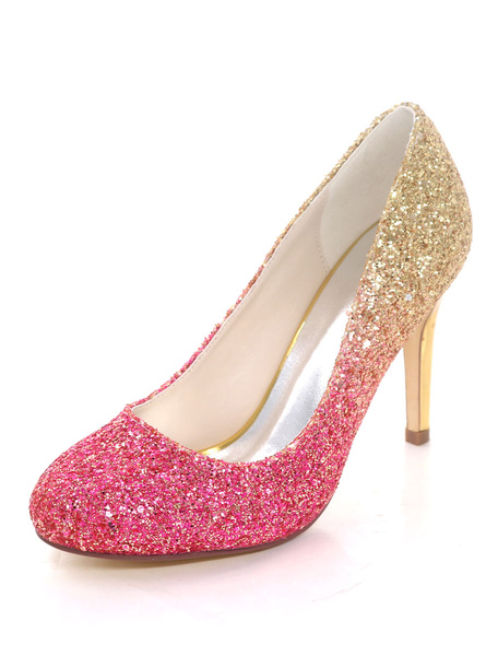 Milanoo Sparkly Prom Shoes Round Toe High Heels Stiletto Heel Pumps Women Dress Shoes