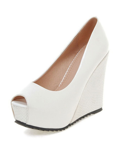 Milanoo Slip-on Peep Toe Wedge Shoes