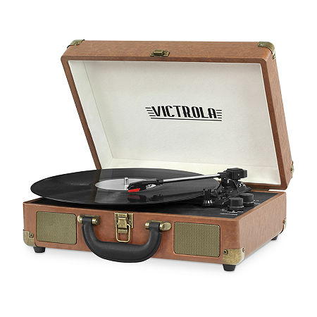 Victrola VSC-550BT 3-Speed Vintage Bluetooth Suitcase Turntable with Built-In Stereo Speakers, One Size , Brown