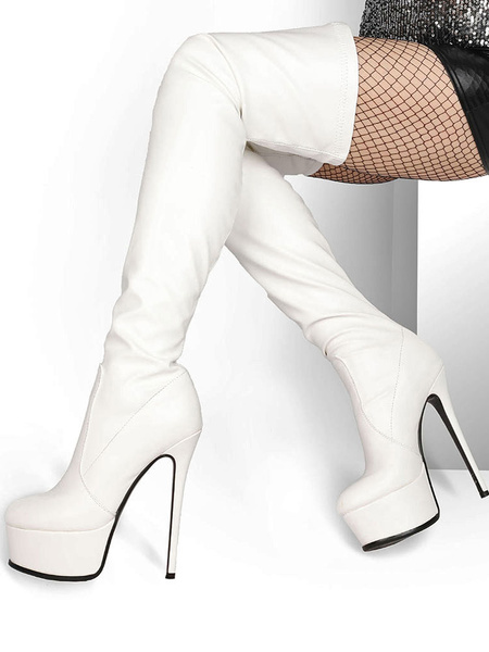 Milanoo Over The Knee Boots PU Leather Black Round Toe Platform Thigh High Boots