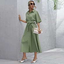 Button Front Roll Up Sleeve Belted Dress