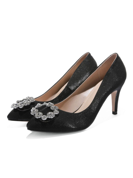 Milanoo High Heel Party Shoes Champagne Pointed Toe Rhinestones Evening Shoes