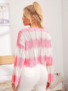 Drop Shoulder Pointelle Knit Colorblock Sweater