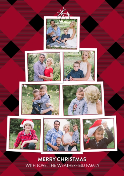 Christmas Photo Cards Flat Matte Photo Paper Cards with Envelopes, 5x7, Card & Stationery -Christmas Classic Plaid by Tumbalina