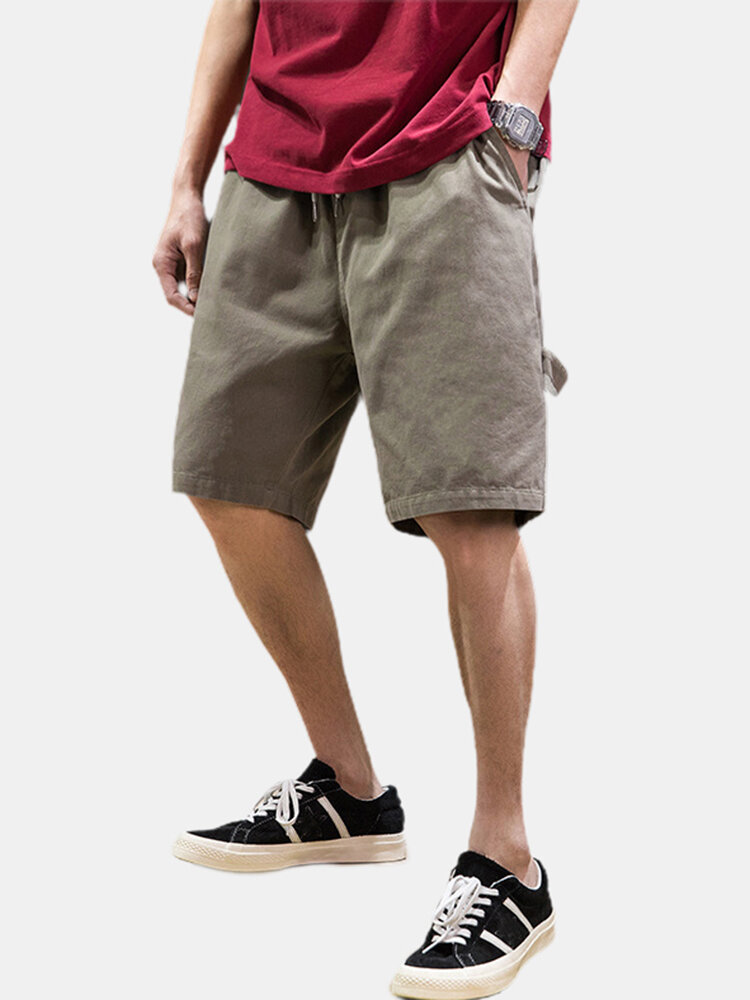 Mens Cargo Shorts Pocket Solid Color Cotton Casual Drawstring Shorts
