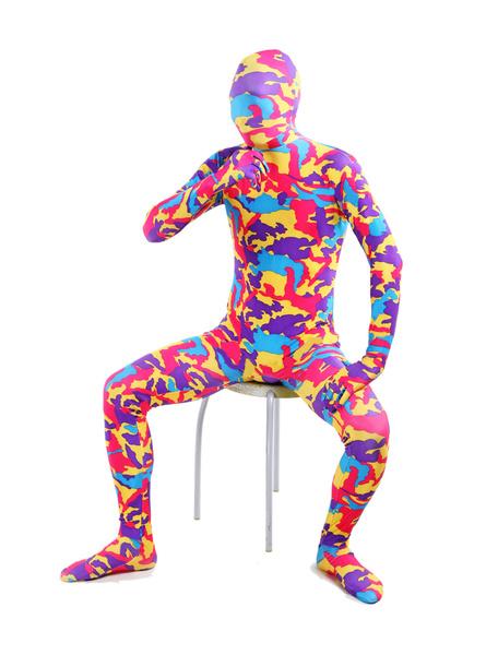 Milanoo Morph Suit Multi Color Camouflage Lycra Spandex Zentai Suit Unisex Full Body Suit