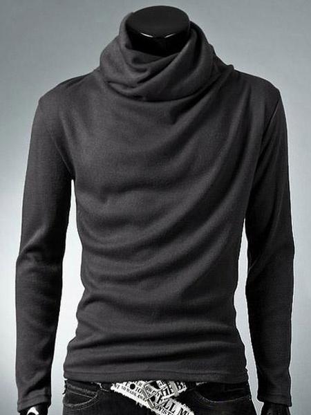 Milanoo Camiseta de algodon con escote alto de estilo chic