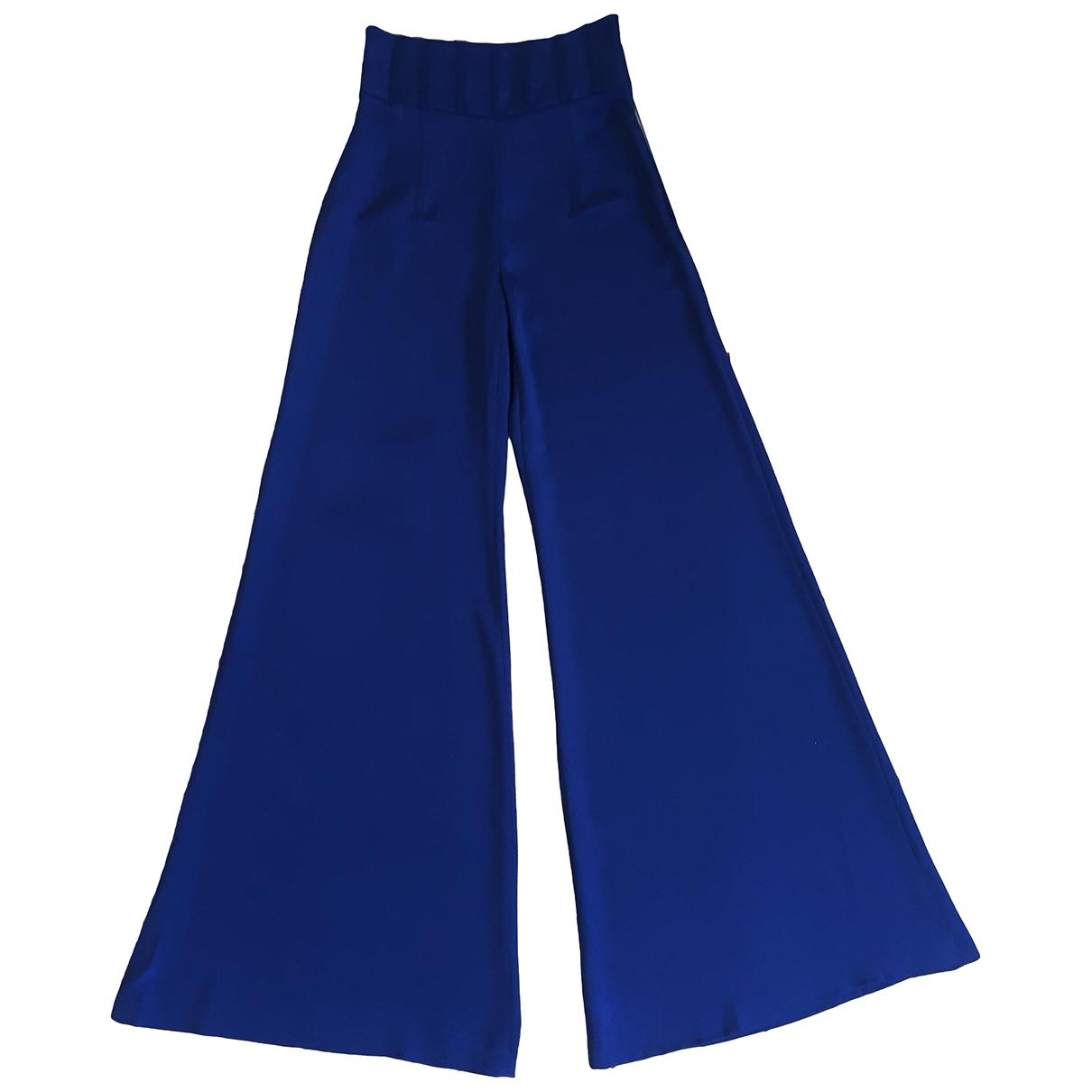 Cushnie Et Ochs \N Navy Silk Trousers for Women 1 US